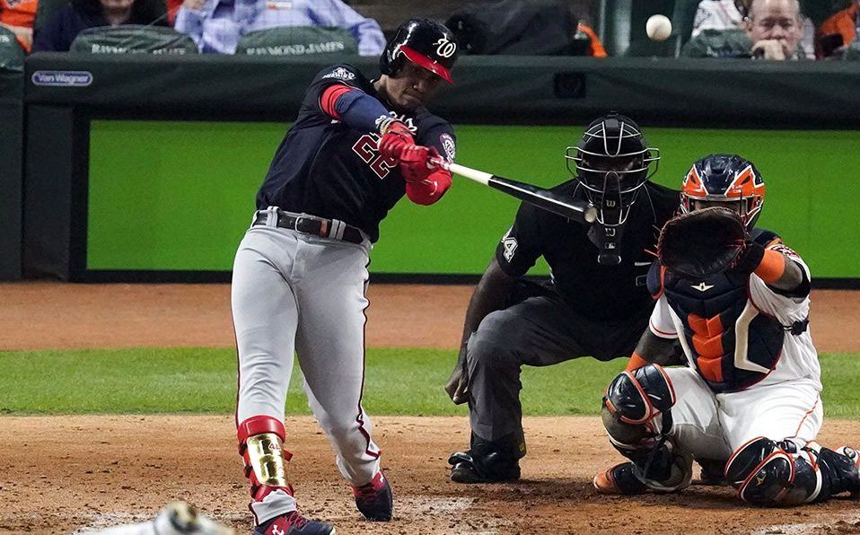 Juan Soto produjo tres carreras para adelantar a los Nationals en la Serie Mundial. (Foto: MLB.com)