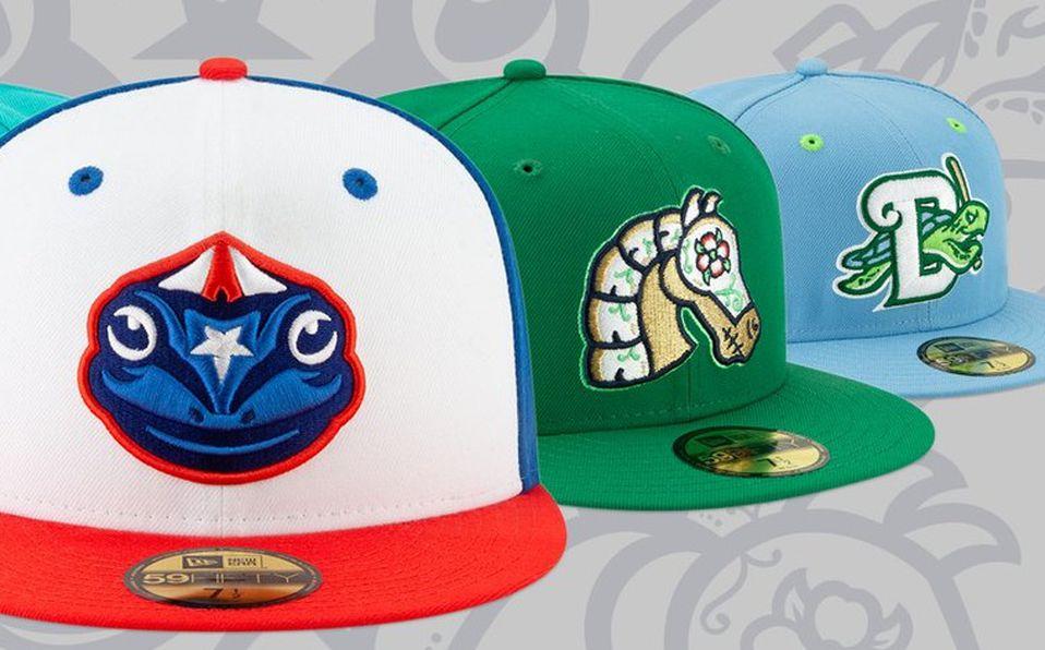 Algunas de las gorras New Era para la Copa Diversión que usarán los equipos de Ligas Menores. Foto: MILB