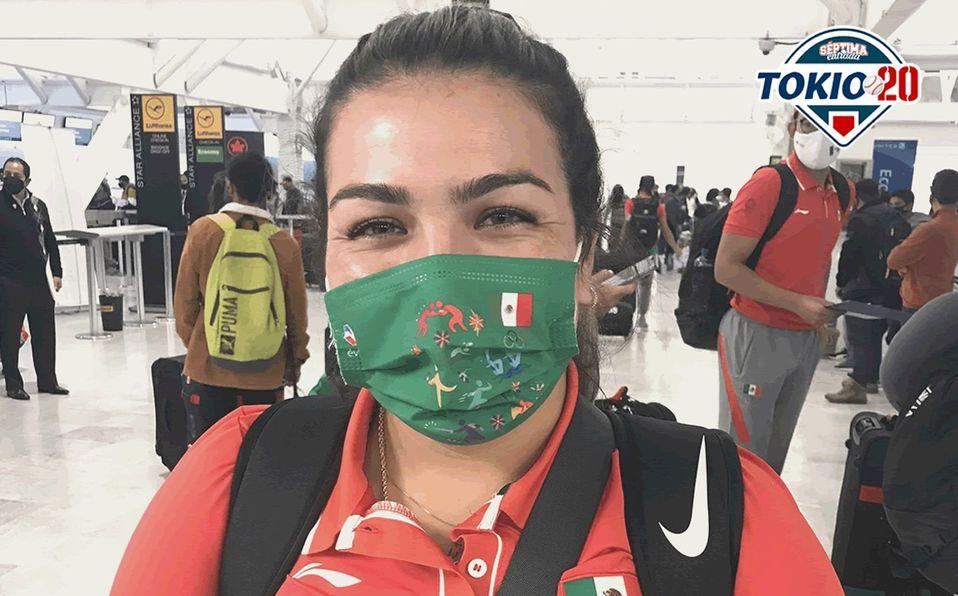 Sashel Palacios el día que salió junto con la selección a Tokyo. Foto: Larissa Valenzuela