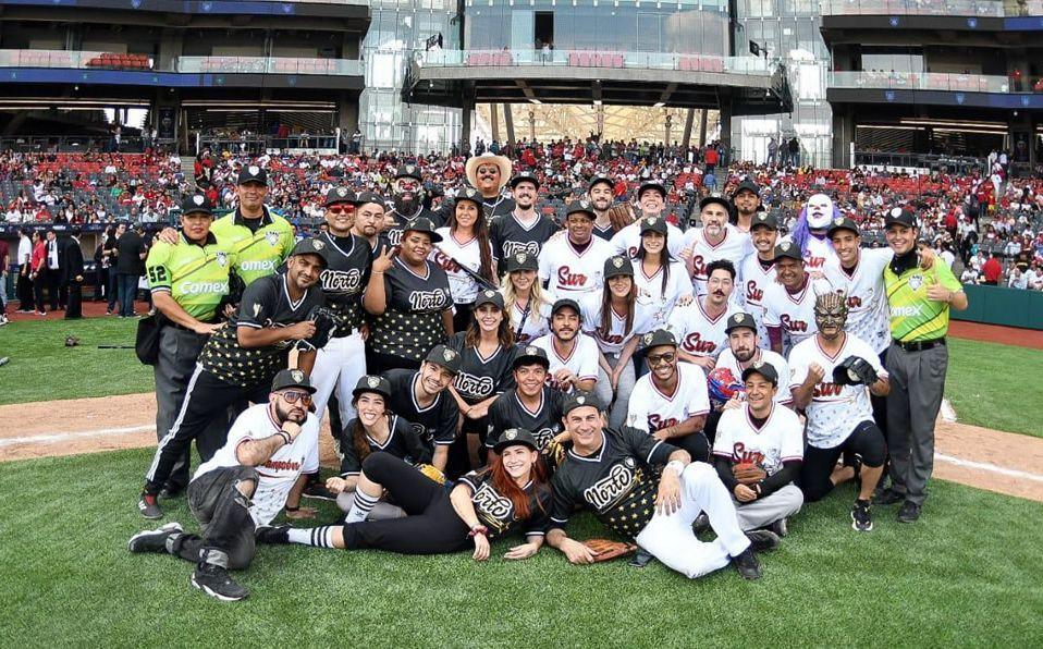 Al final, todas las celebridades posaron para una foto en la casa de los Diablos Rojos del México. (Foto: @LigaMexBeis)