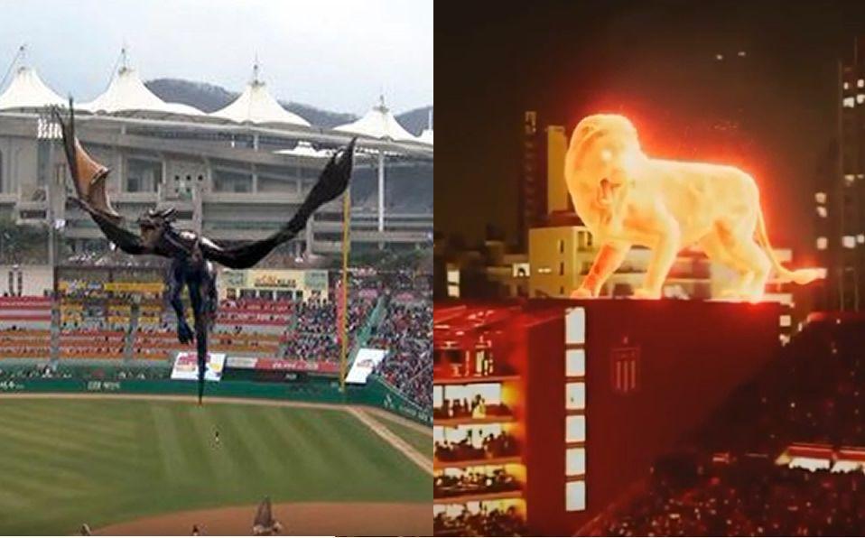 Un dragón y un león virtuales en inauguraciones de estadios