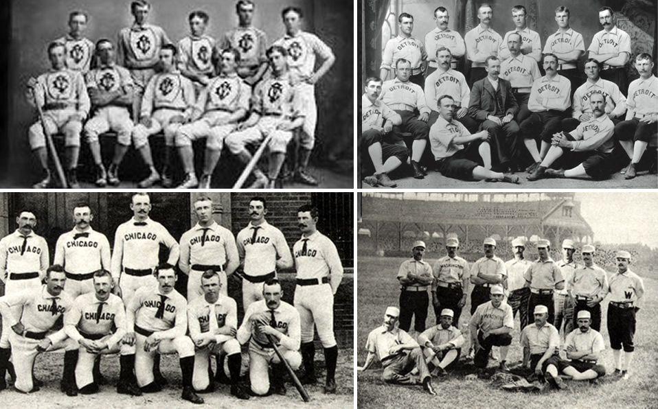 Los equipos de Kekiongas (Indiana), Detroit, Chicago y Washington de finales del Siglo XIX. Foto: Especial