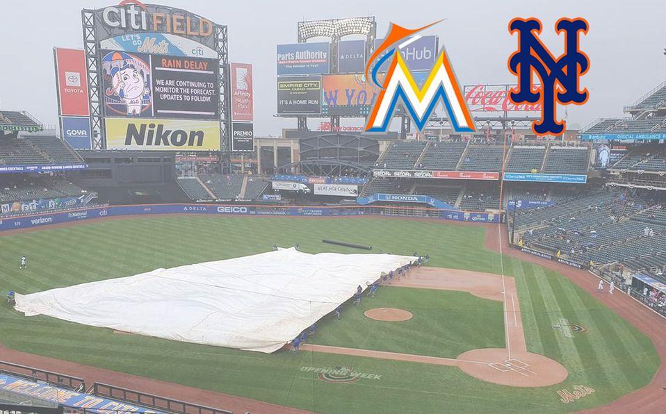 La lluvia suspendió el encuentro Miami vs Mets el 11 de abril, y se va a reanudar este 31 de agosto. Foto: AP