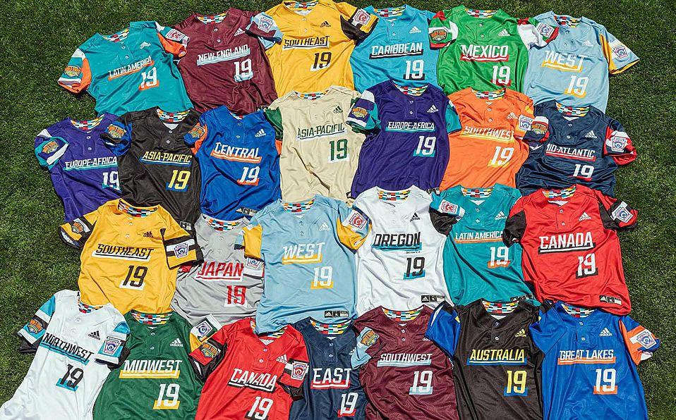 Los jerseys de todos los equipos de la Serie Mundial de Ligas Pequeñas. Foto: Adidas